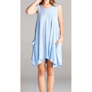 Women's Tank Dress Pockets Light Blue Swim Cover